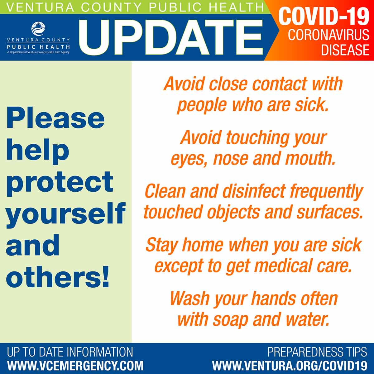 Ventura County Public Health coronavirus graphic